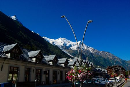 View of Mont Blanc from the train station