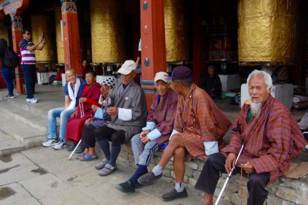 Healthy folks outside the temple