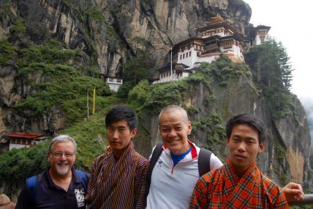 View of the Tiger's Nest with young local guys
